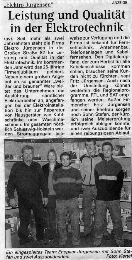 25 Jahre Elektro Jürgensen in Jübek